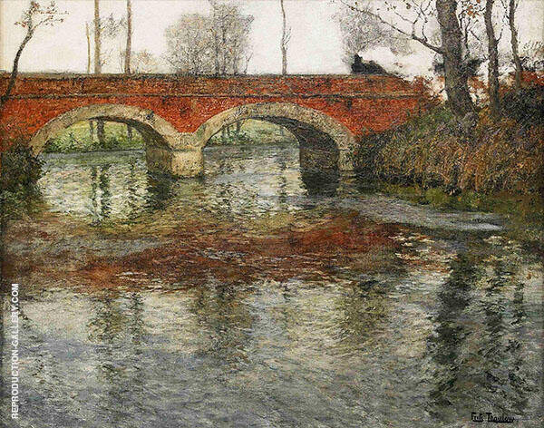 French River Landscape with a Stone Bridge By Frits Thaulow