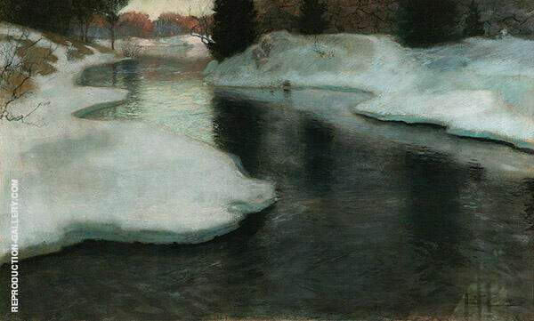 Ice at Lysakerelven By Frits Thaulow