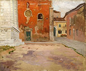 Red Church Wall By Frits Thaulow