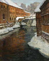 The Akerselven River in The Snow By Frits Thaulow