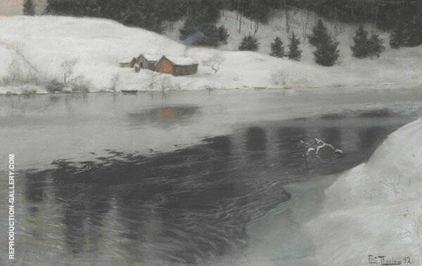 Winter at Simoa River By Frits Thaulow