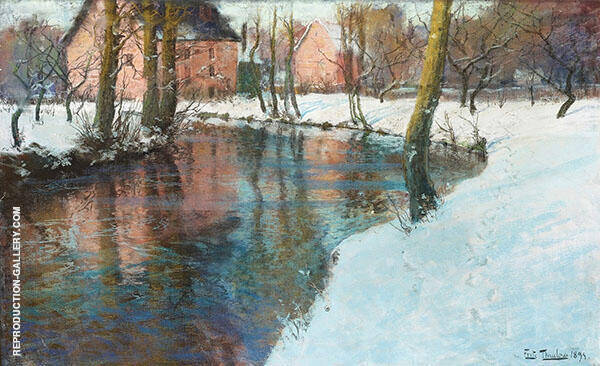 Winter Landscape with Stream By Frits Thaulow