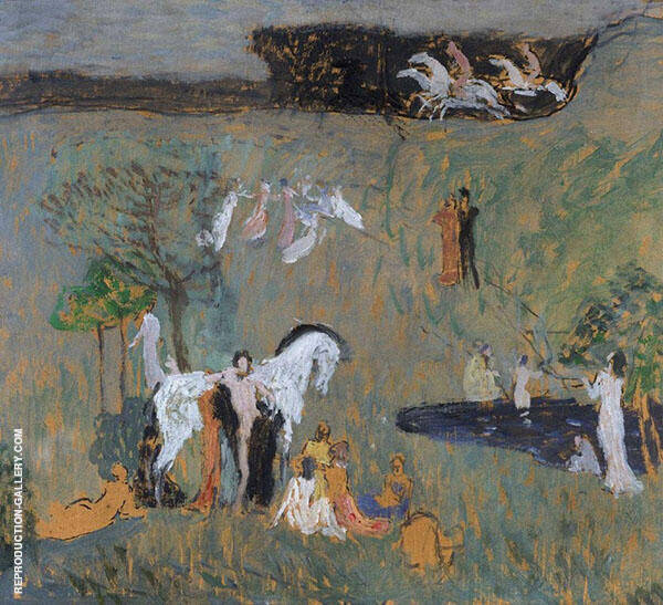 Composition with White Horse Painting By Jan Preisler