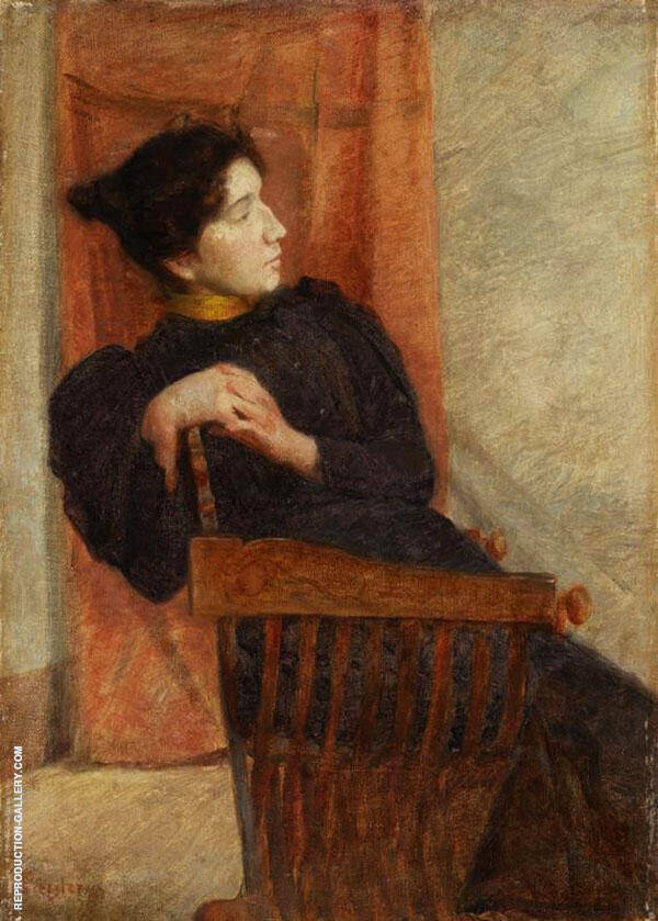 Portrait of a Lady in a Chair Painting By Jan Preisler