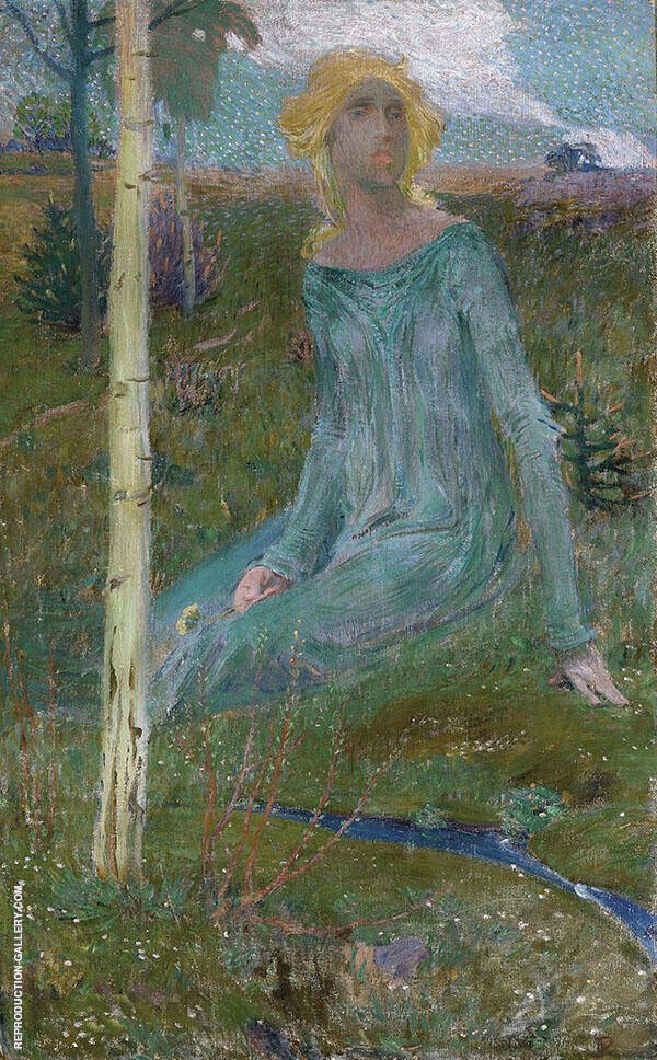 Sitting Girl in Landscape Painting By Jan Preisler - Reproduction Gallery