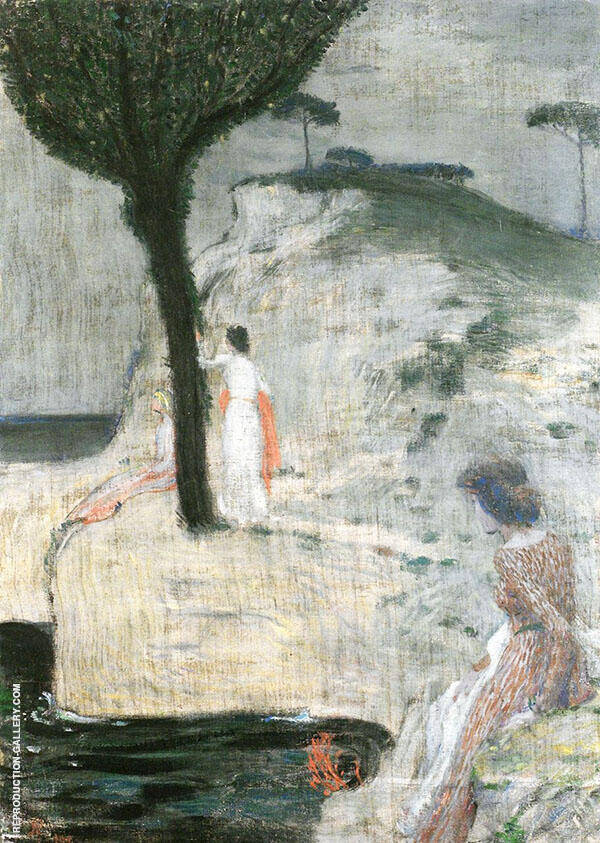 Women on The Seashore Painting By Jan Preisler - Reproduction Gallery