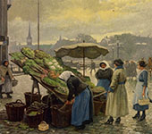 At The Vegetable Market By Paul Gustav Fischer