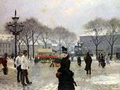 A Winters Day on Kongens Nytorv Copenhagen 1888 By Paul Gustav Fischer
