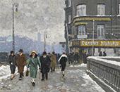 A Winter Street By Paul Gustav Fischer