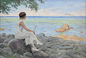 A Young Woman with her Parasol on The Beach By Paul Gustav Fischer