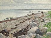 Bathers on a Beach By Paul Gustav Fischer