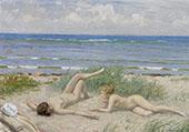 Girls on The Beach By Paul Gustav Fischer