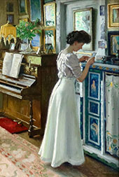 Harriet in The Living Room at Sofieve By Paul Gustav Fischer