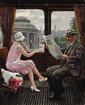 I Sporvogn ved Norreport Station 1927 By Paul Gustav Fischer