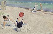 On The Beach By Paul Gustav Fischer
