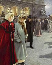 Outside Det Kongelige Teater The Royal Theatre in Copenhagen 1909 By Paul Gustav Fischer