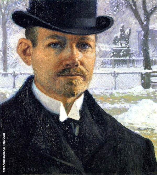 Self Portrait 1909 Painting By Paul Gustav Fischer - Reproduction Gallery
