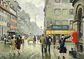 Street Scene Copenhagen By Paul Gustav Fischer