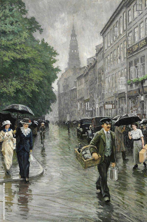 Street Scene from Amagertorv Copenhagen Painting By Paul Gustav Fischer