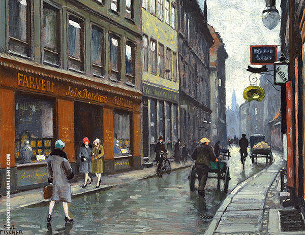 Street Scene from Copenhagen at The Johannes Barding Dyeing Store By Paul Gustav Fischer