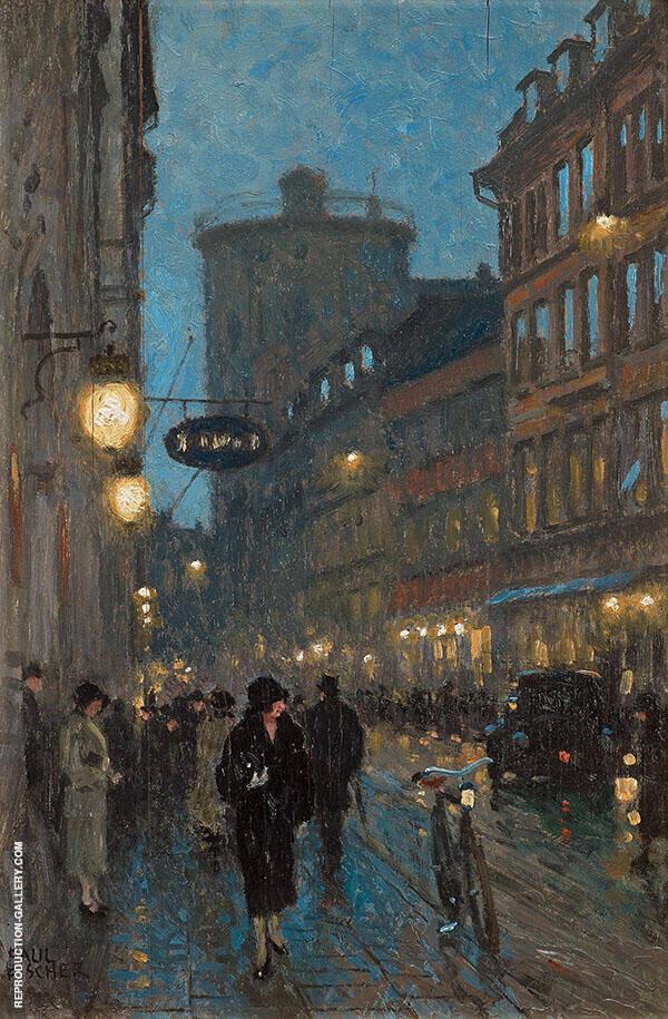 Scene Kobmagergade Copenhagen Painting By Paul Gustav Fischer