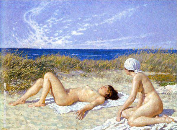 Sunbathing on The Dunes Painting By Paul Gustav Fischer