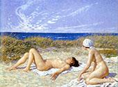 Sunbathing on The Dunes By Paul Gustav Fischer