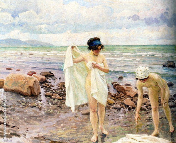 The Bathers Painting By Paul Gustav Fischer - Reproduction Gallery