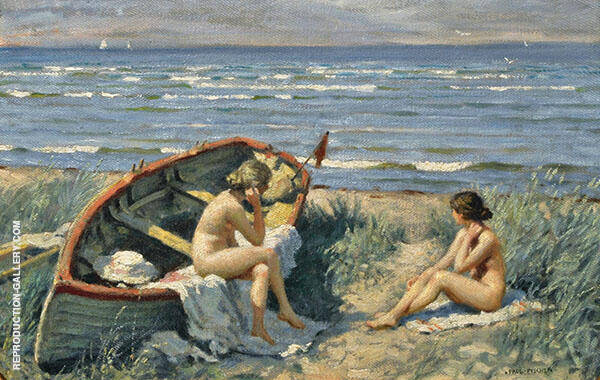 The Beach at Bastad Painting By Paul Gustav Fischer - Reproduction Gallery