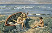The Beach at Bastad By Paul Gustav Fischer