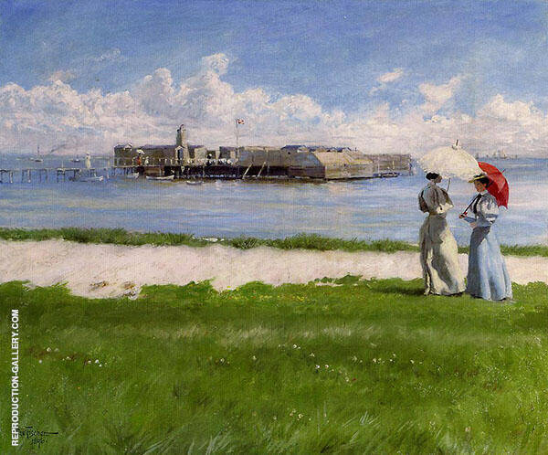 The Conversation Helgoland Painting By Paul Gustav Fischer