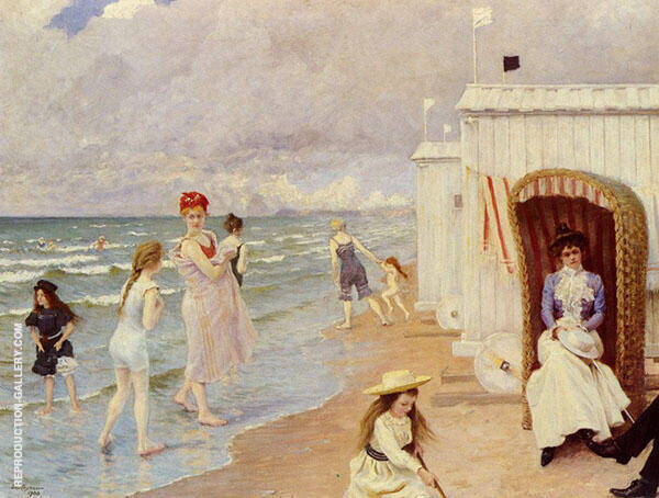 The Day at The Beach Painting By Paul Gustav Fischer