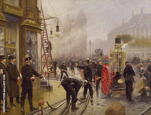 The Fire Brigade Turn out in Kultorvet Copenhagen Painting By ...