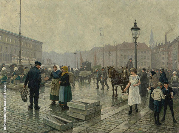 The Fish Market at Gammelstrand Copenhagen By Paul Gustav Fischer