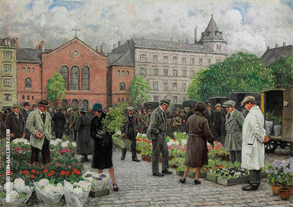 The Flower Market Painting By Paul Gustav Fischer - Reproduction Gallery
