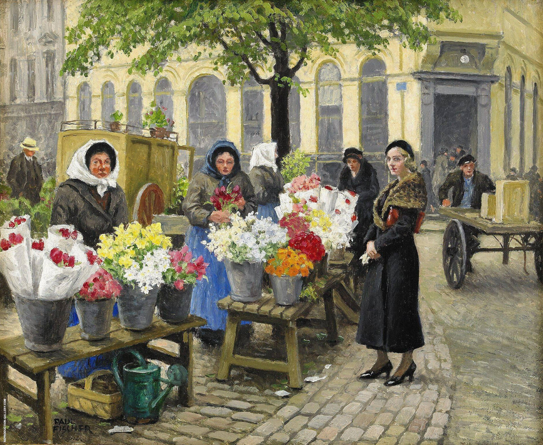 The Flower Market at Hojbro Plads Copenhagen By Paul Gustav Fischer