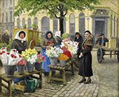 The Flower Market at Hojbro Plads Copenhagen By Paul Gustav Fischer