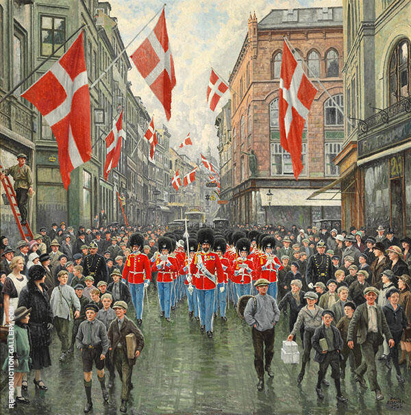 The King's Birthday The Royal Guard in Red Gala in Ostergade Painting By ...