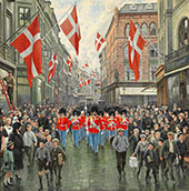 The King's Birthday The Royal Guard in Red Gala in Ostergade By Paul Gustav Fischer