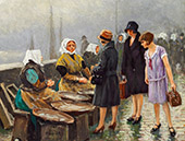 Three Young Ladies Buying Fresh Fish at Gammel Strand Copenhagen By Paul Gustav Fischer