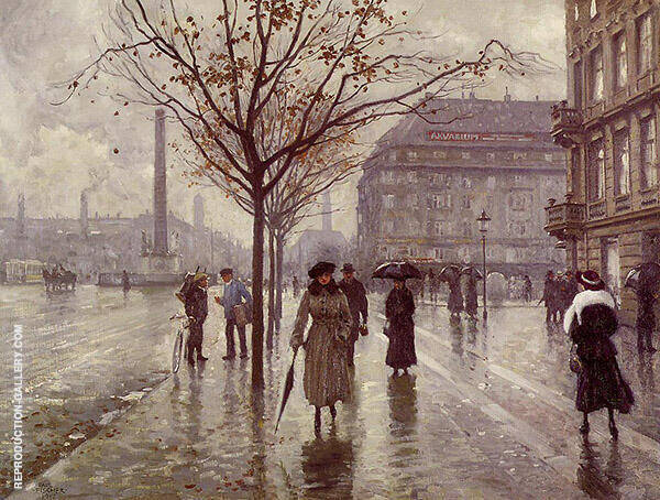 Vesterbrogade Painting By Paul Gustav Fischer - Reproduction Gallery