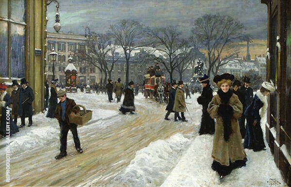Winter in Kongens Nytorv King's Square Copenhagen By Paul Gustav Fischer