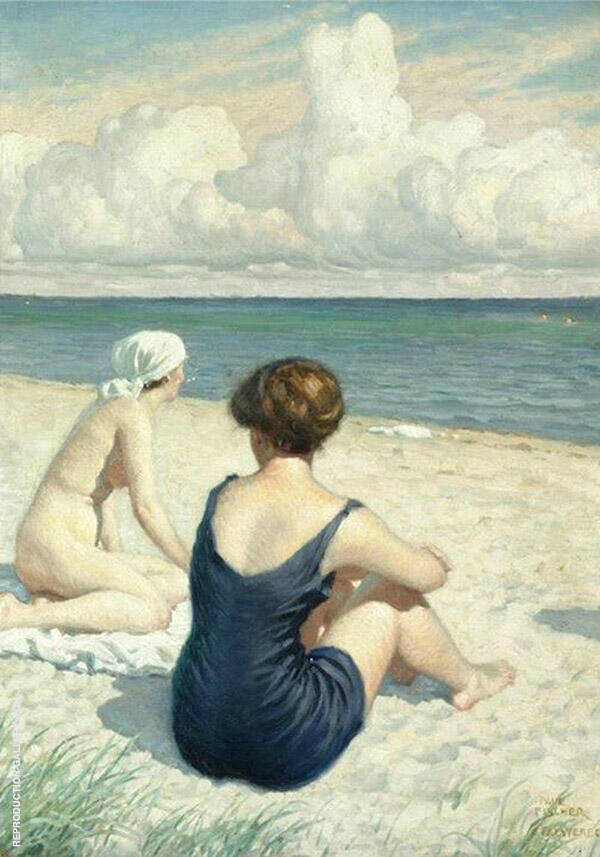 Women on The Beach in Falsterbo Painting By Paul Gustav Fischer