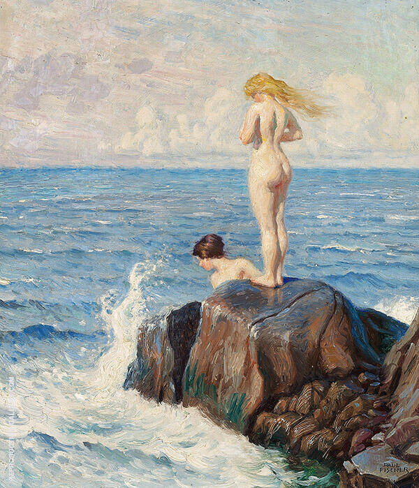 Young Women Bathing from The Cliffs Painting By Paul Gustav Fischer