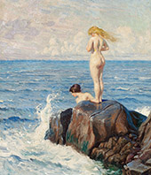 Young Women Bathing from The Cliffs By Paul Gustav Fischer
