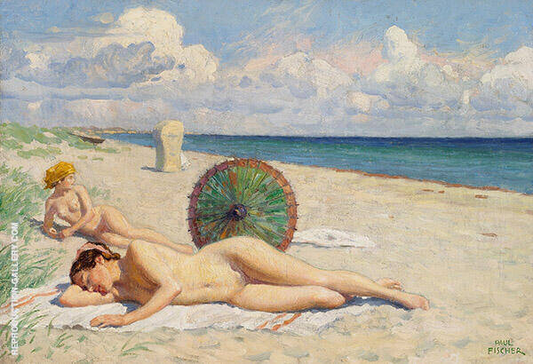 Young Women on The Beach at Hornbaek Zealand By Paul Gustav Fischer