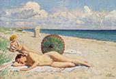 Young Women on The Beach at Hornbaek Zealand By Paul Gustav Fischer