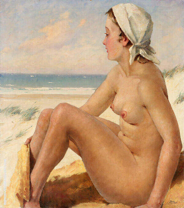 Bather at The Beach Painting By Paul Gustav Fischer - Reproduction Gallery