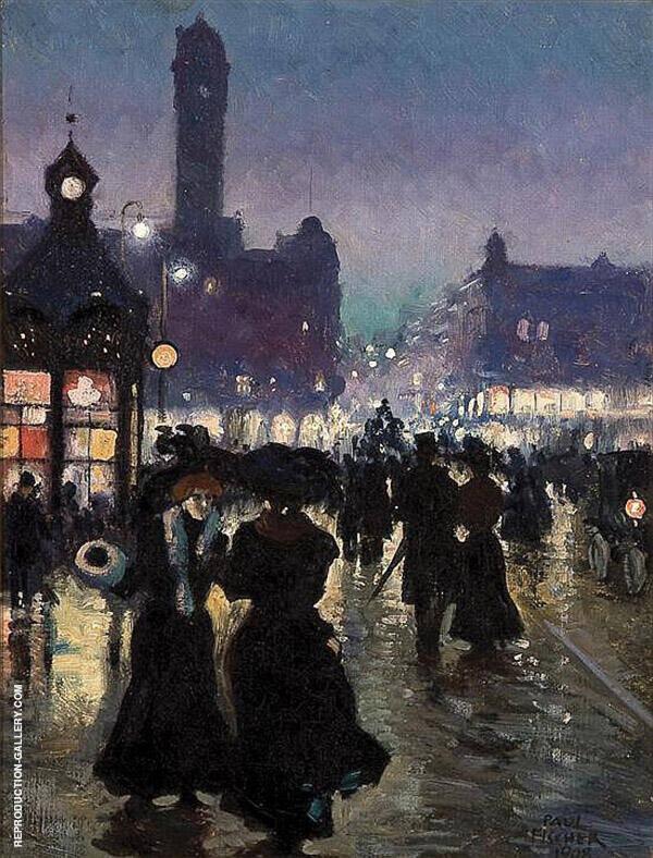 Radhuspladsen 1908 Painting By Paul Gustav Fischer - Reproduction Gallery