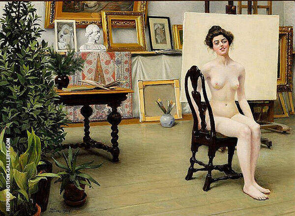 The Artist's Studio 1904 Painting By Paul Gustav Fischer